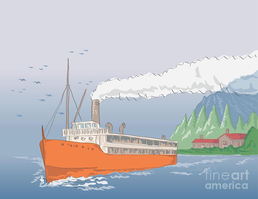 Steamboat Digital Art - Steamship Steamboat Vintage by Aloysius Patrimonio
