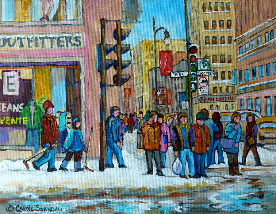 Montreal Painting - Ste.catherine And Peel Streets by Carole Spandau