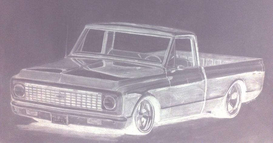 Truck Drawing - Steel 72 by Bradley   Howell