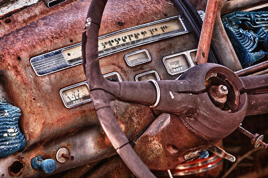 Cheyenne Photograph - Steering Wheel by Richard Steinberger