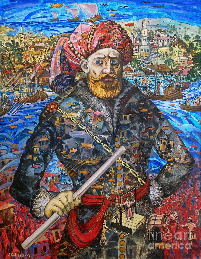 Original Painting - Stepan Razin Charming Letters  by Andrey Soldatenko