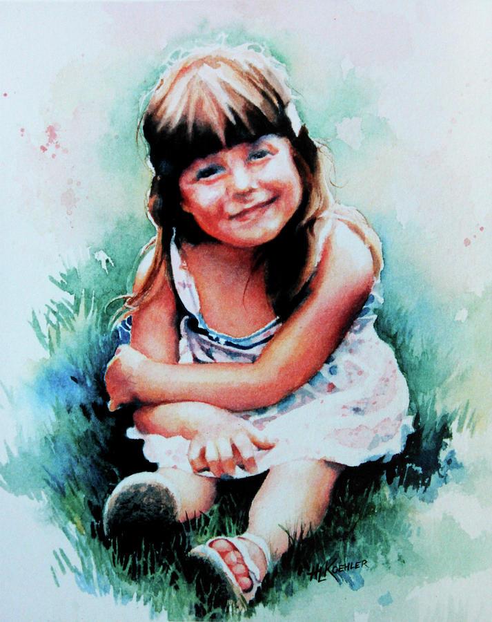 Watercolor Portrait Painting - Stephanie by Hanne Lore Koehler