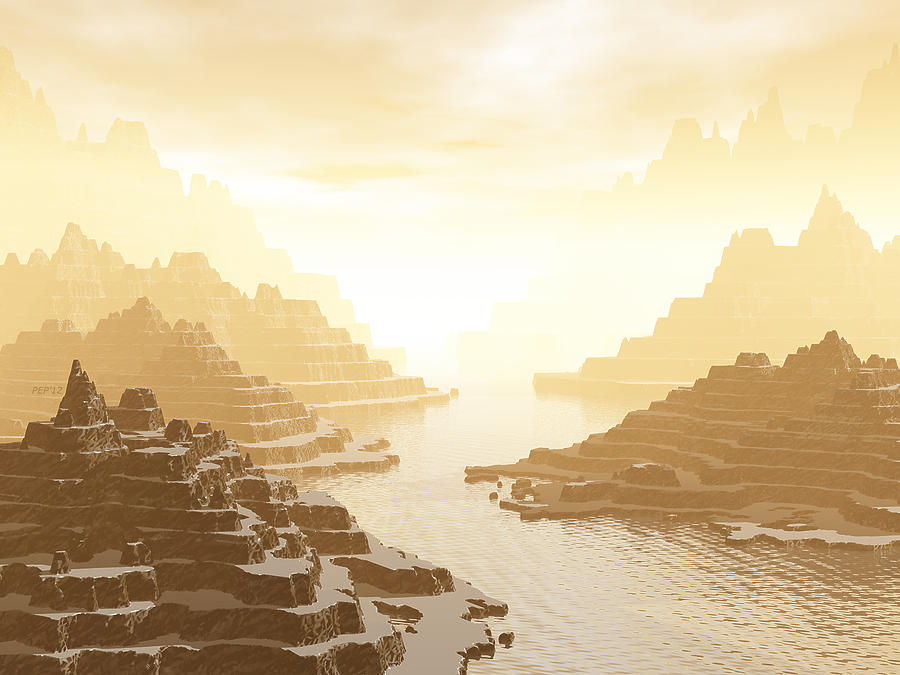 Mountains Digital Art - Misted Mountain River Passage by Phil Perkins