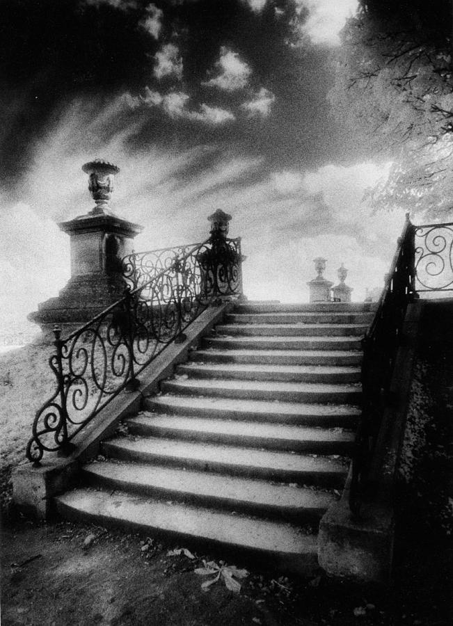 French Architecture; Outdoors; Staircase; Balustrade Photograph - Steps At Chateau Vieux by Simon Marsden
