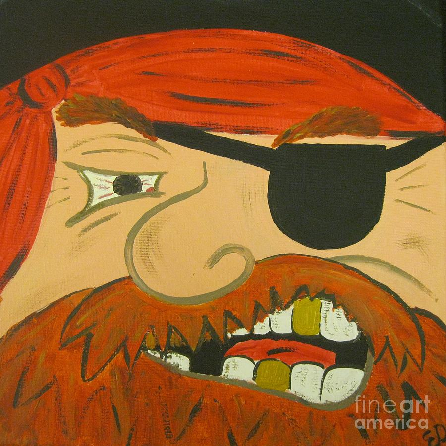 Pirate Painting - Steve The Pirate by Eva  Dunham