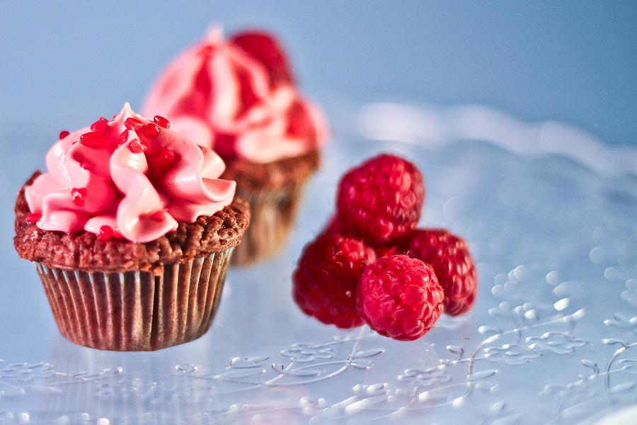Baking Photograph - Sticky Raspberry Chocolate Cupcake by Birgitta Forsberg