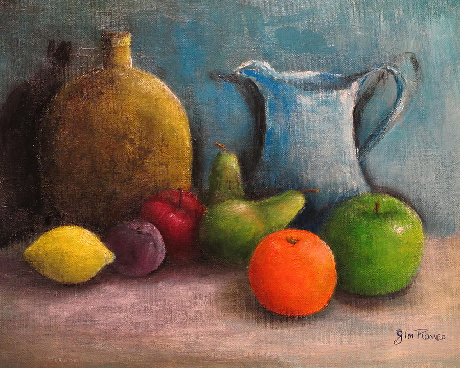 Still Life Jug Vase And Fruit Painting By Jim Romeo