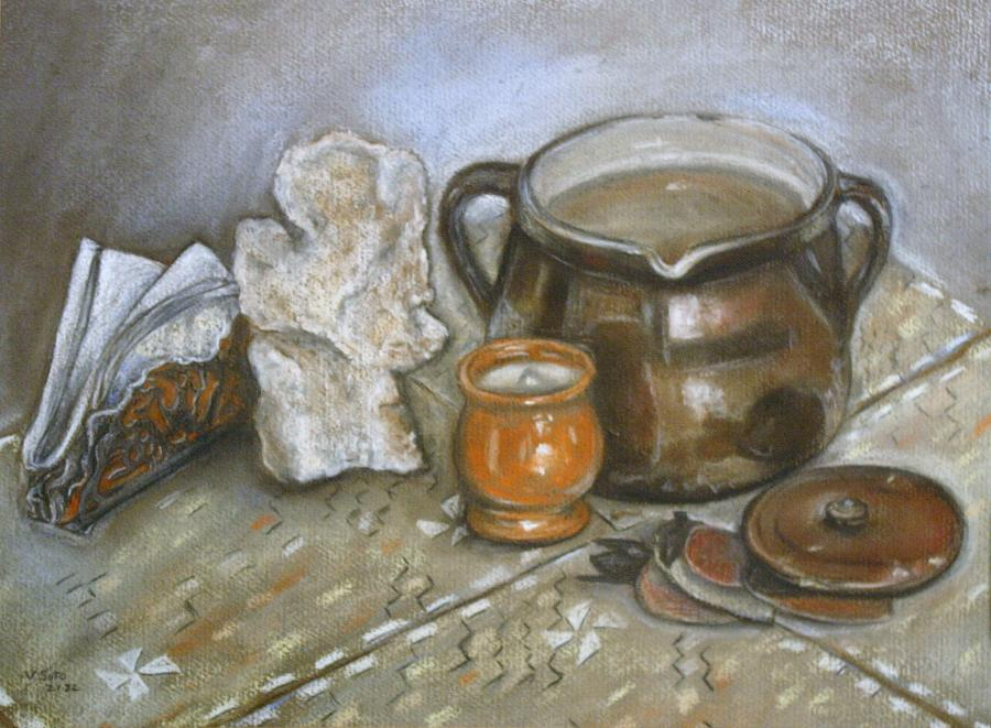 Pastel Painting - Still Life Fossil by Victor SOTO