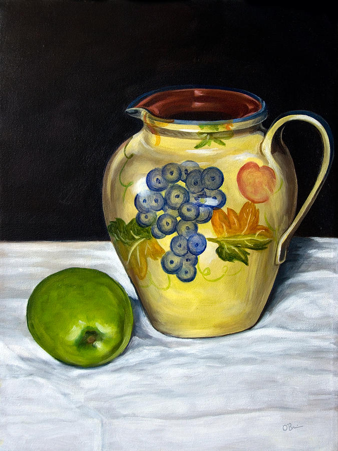 Apple Painting - Still Life With Apple And Pitcher by John OBrien