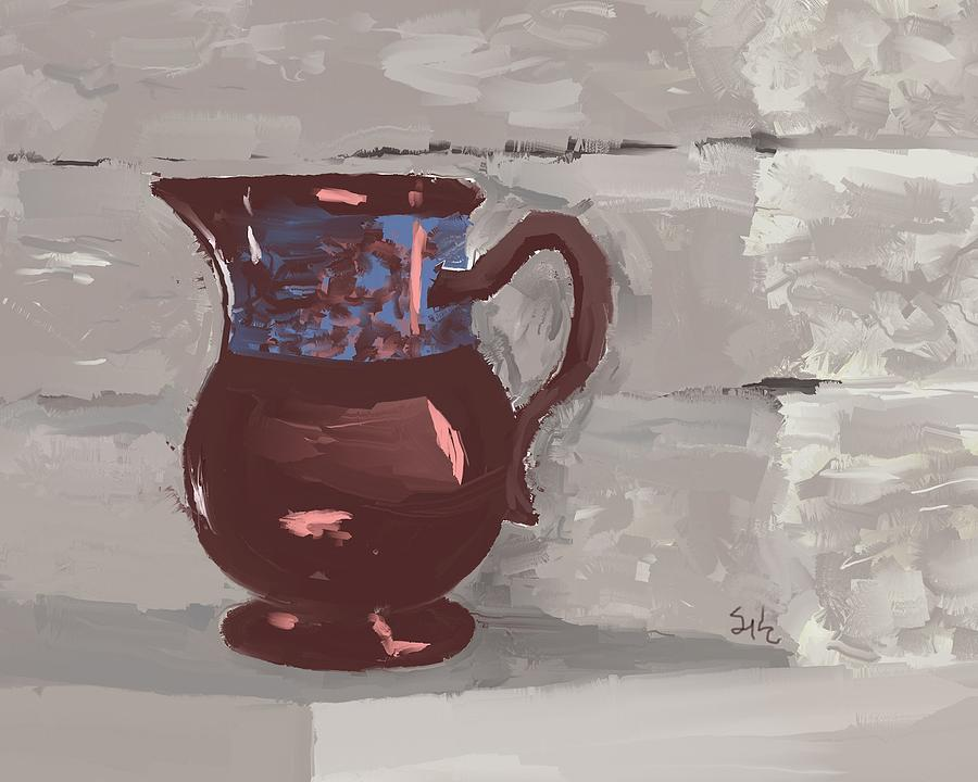 Still Life Digital Art - Still Life With Copper Luster Jug by Sarah Countiss