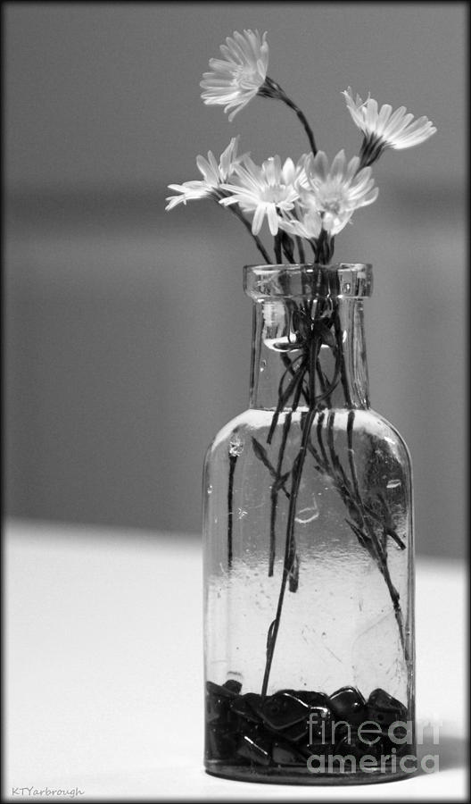 Still Life With Flowers In Black And White Photograph By Kim Yarbrough