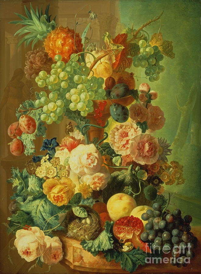 Plum Painting - Still Life With Fruit And Flowers by Jan van Os