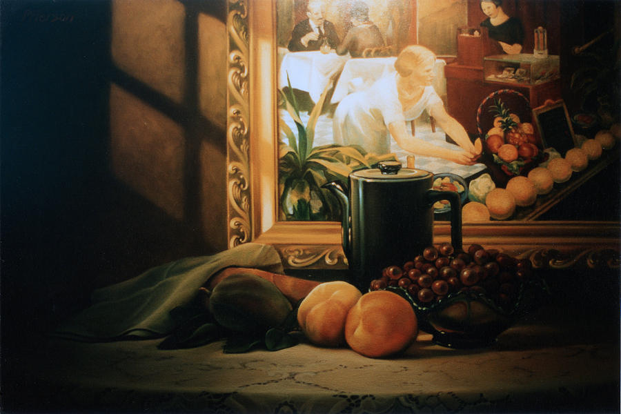 Peaches Painting - Still Life With Hopper by Patrick Anthony Pierson