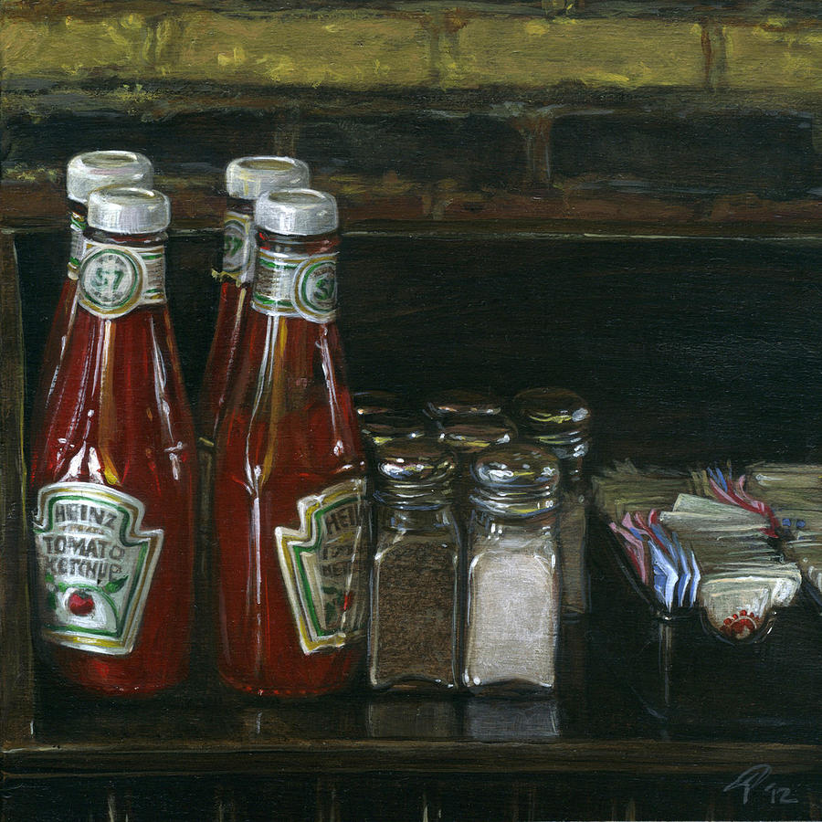 Diner Painting - Still Life With Ketchup by Ted Papoulas