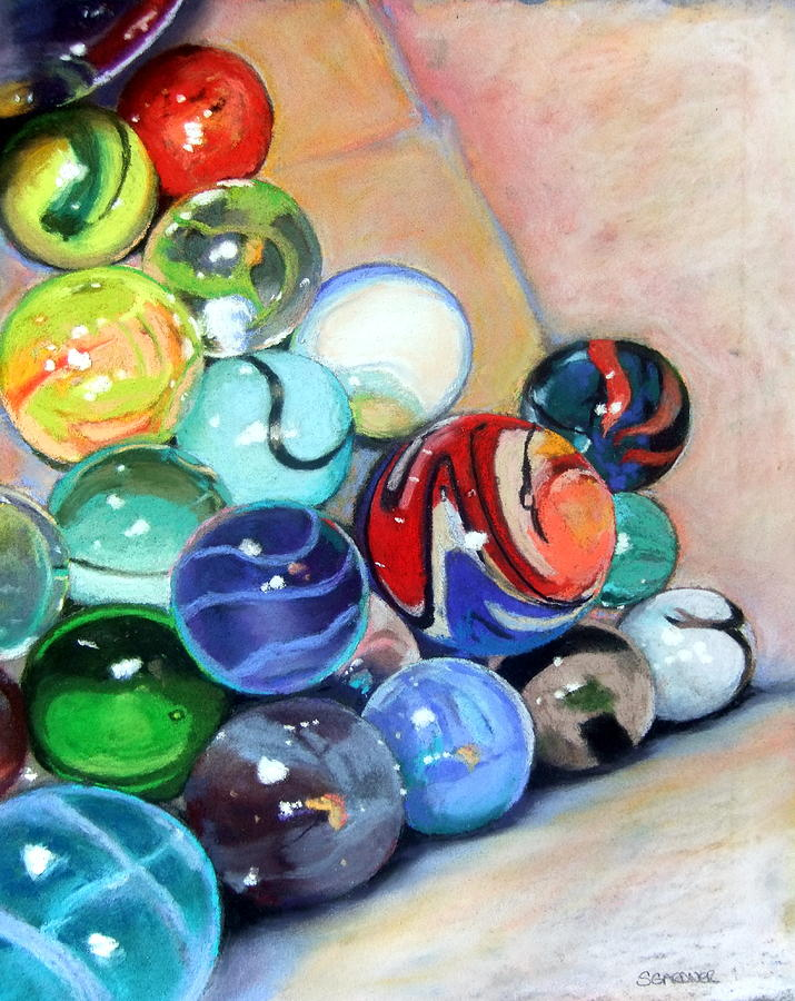 Still Life With Marbles 07 Pastel by Sue Gardner
