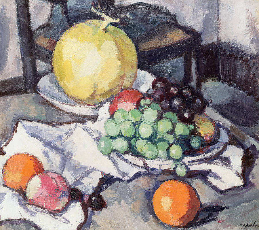 Fruit Painting - Still Life With Melons And Grapes by Samuel John Peploe