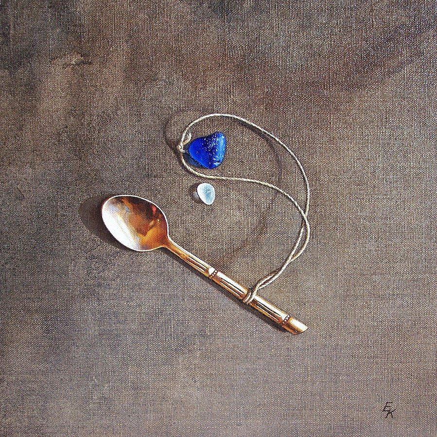 Spoon Painting - Still Life With Teaspoon And Sea Glass by Elena Kolotusha