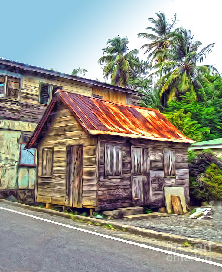 St. Lucia Painting - Stlucia - Rusted Shack by Gregory Dyer