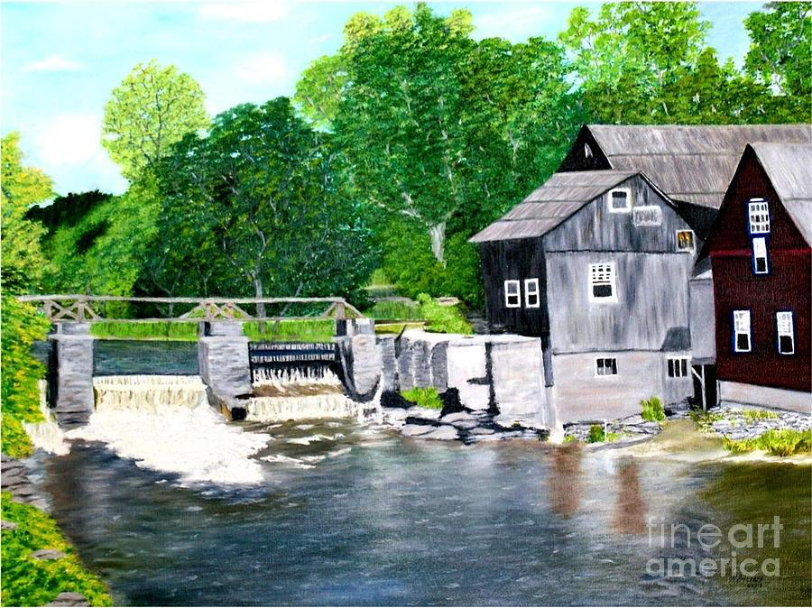Mill Painting - Stockdale Apple Cider and Grist Mills by Peggy Holcroft
