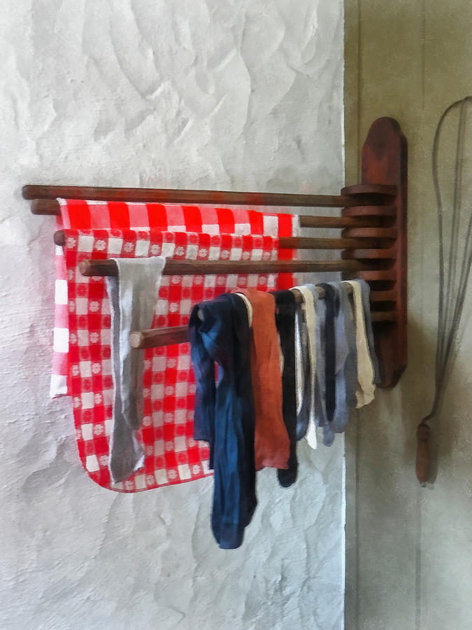 Laundry Photograph - Stockings Hanging To Dry by Susan Savad