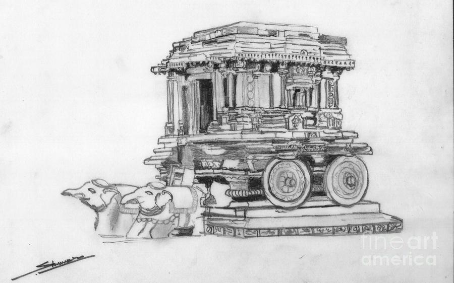Landscape Drawing - Stone Chariot Hampi Vijayanagar Empire by Shashi Kumar