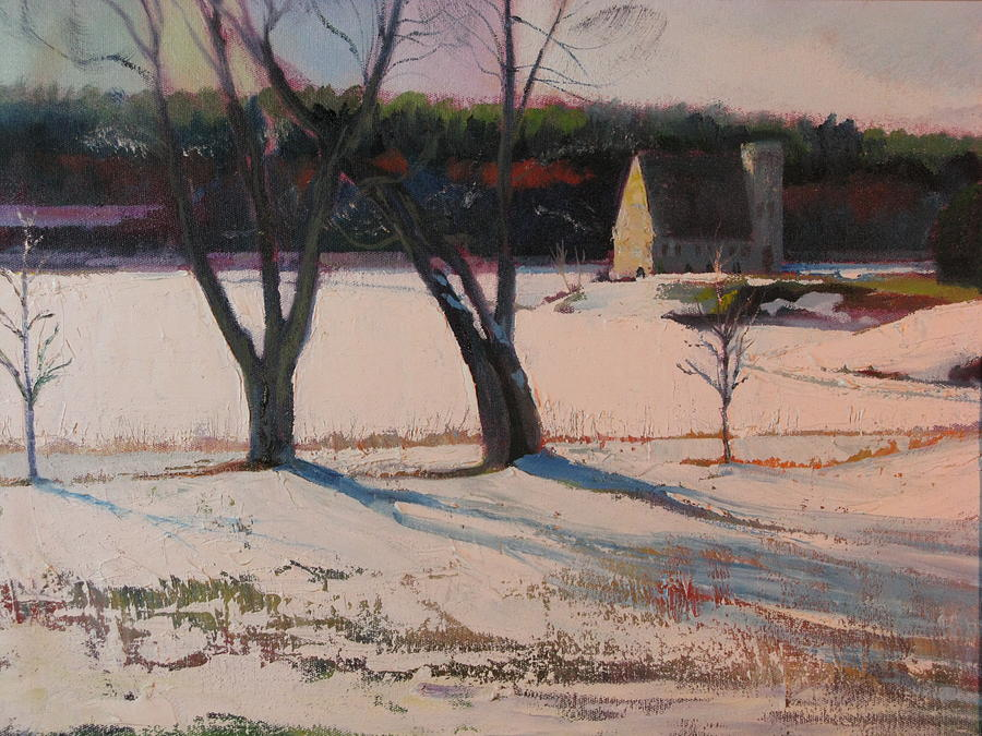 Landscape Painting - Stone Church  In Winter by Sid Solomon