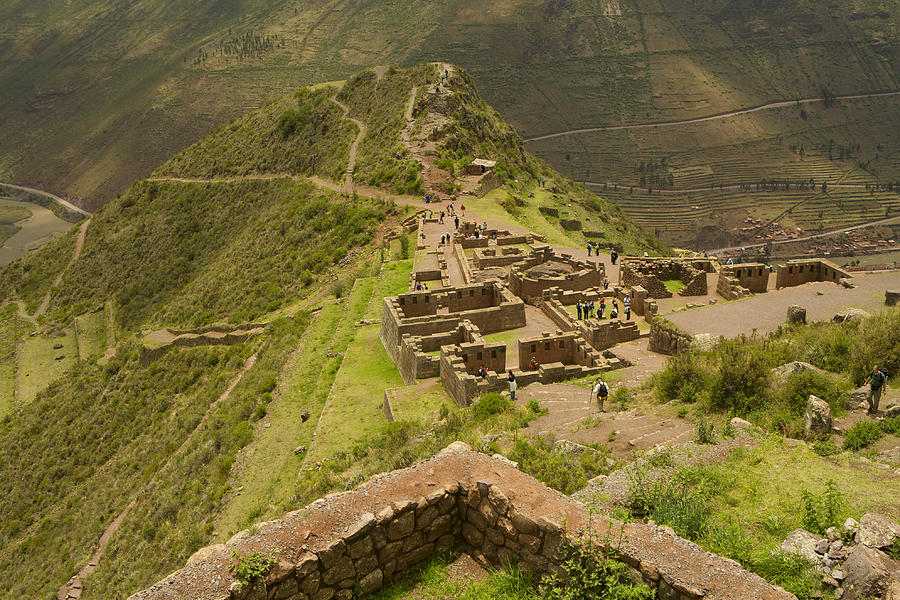 Horizontal Photograph - Stone Ruins At Pisac National Park,sacred Valley Of The Incas by Ralph Hopkins
