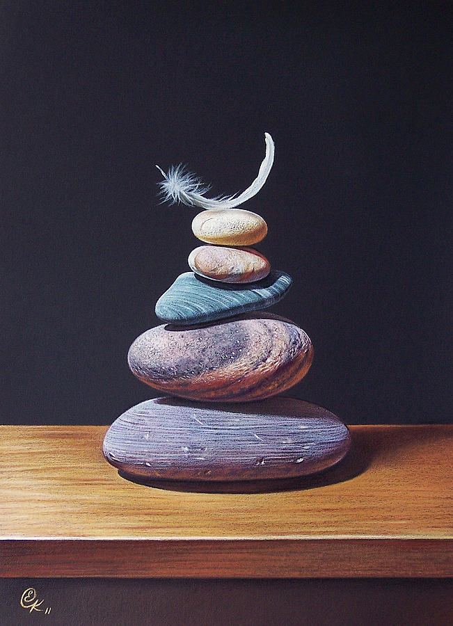 Feather Drawing - Stone Tower 1 by Elena Kolotusha