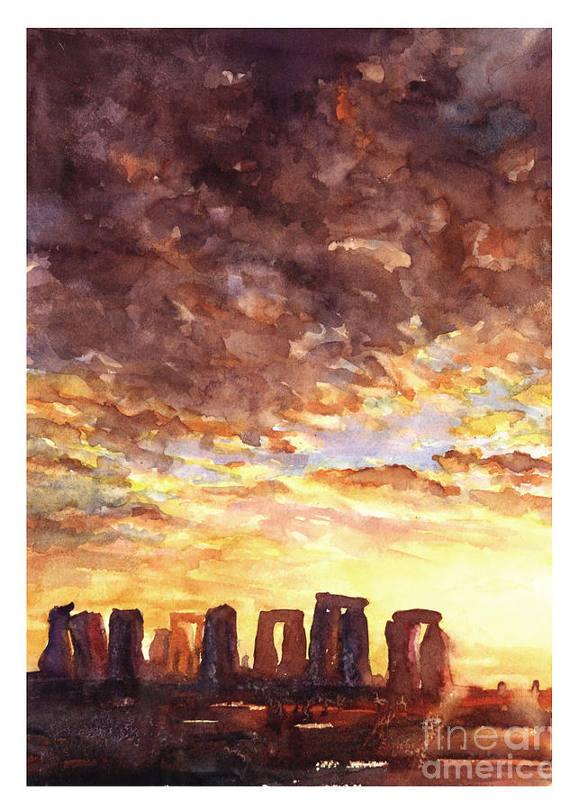 Ancient Painting - Stonehenge Sunrise by Ryan Fox