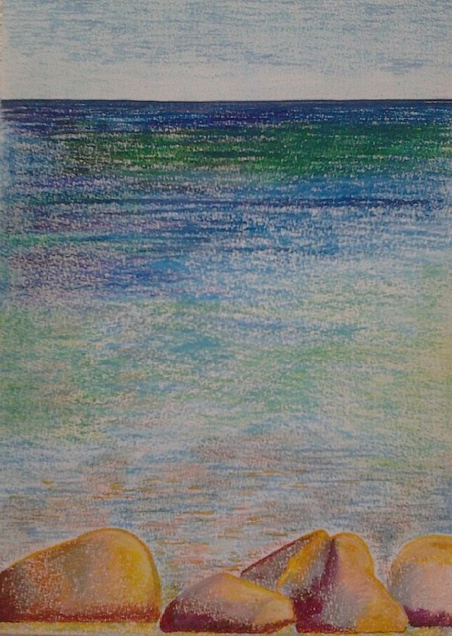 Landscape Painting Pastel - Stones By The Sea by Taruna Rettinger