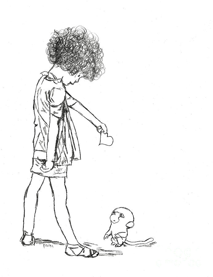 Curly Hair Drawing - Stoopid Monkey Love Is For People by Turtle Caps
