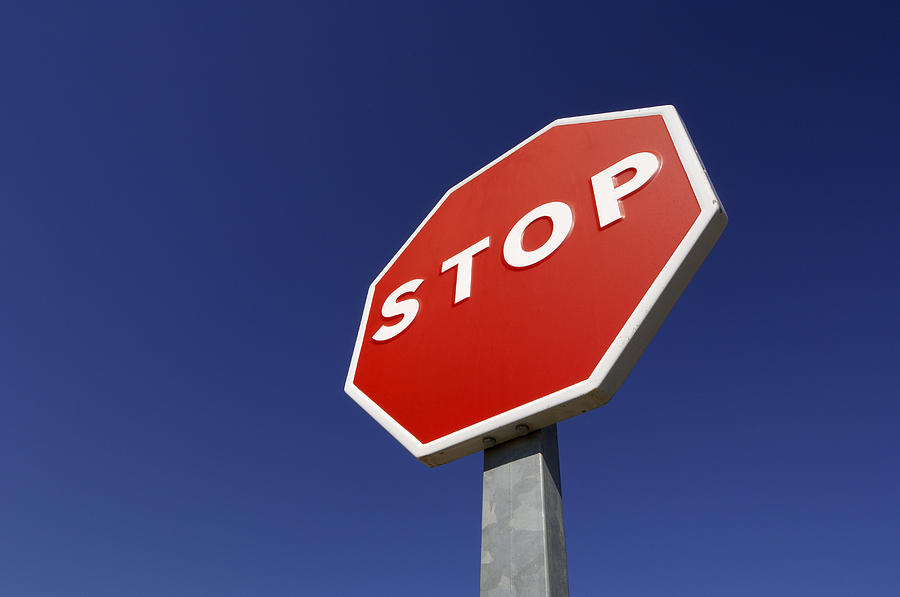 Horizontal Photograph - stop Road Sign by Martin Ruegner