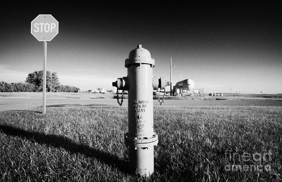Stop Photograph - Stop Sign Against Blue Sky And Red Darling Valve Fire Hydrant In Rural Michigan North Dakota Usa by Joe Fox
