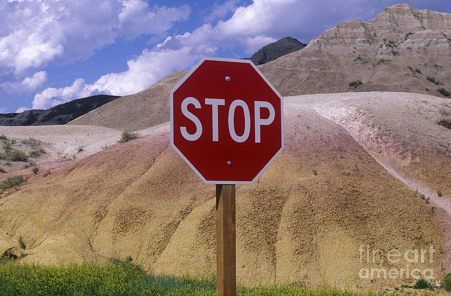 Arid Photograph - Stop Sign In South Dakota Badlands by Will & Deni McIntyre