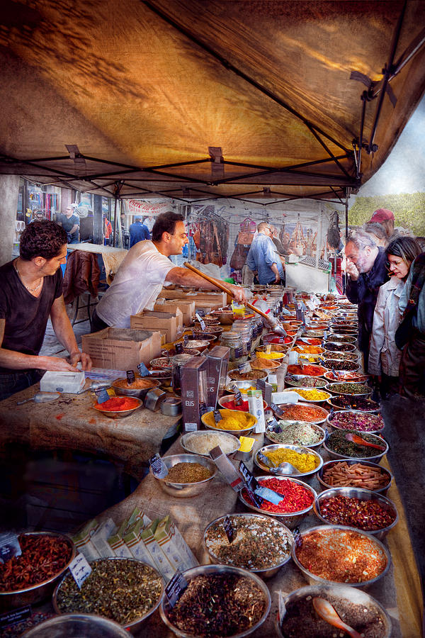 Tea Photograph - Storefront - The Open Air Tea And Spice Market  by Mike Savad