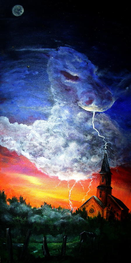 Landscape Painting - Storm Against Christianity by Leslie Hoops-Wallace