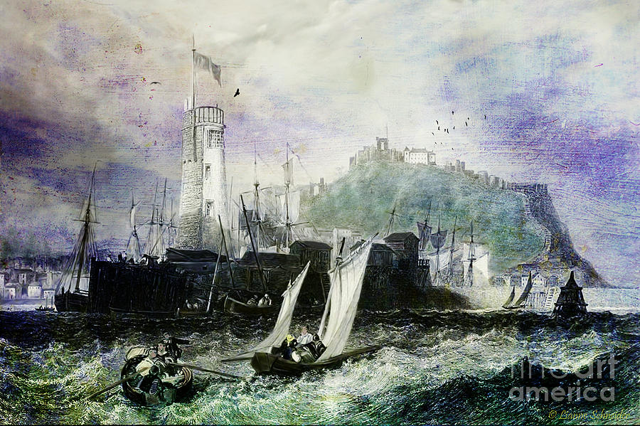 Seascapes Digital Art - Storm At Scarborough by Lianne Schneider
