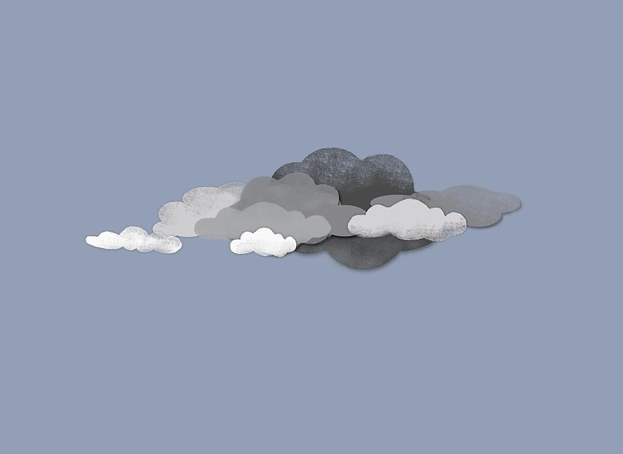 Horizontal Digital Art - Storm Clouds by Jutta Kuss