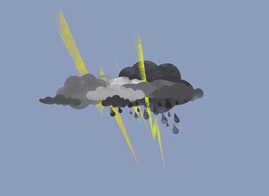 Horizontal Digital Art - Storm Clouds, Lightning And Rain by Jutta Kuss