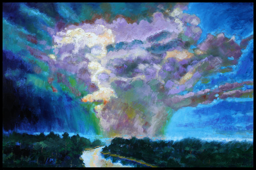 Storm Clouds Painting - Storm Clouds over River by John Lautermilch