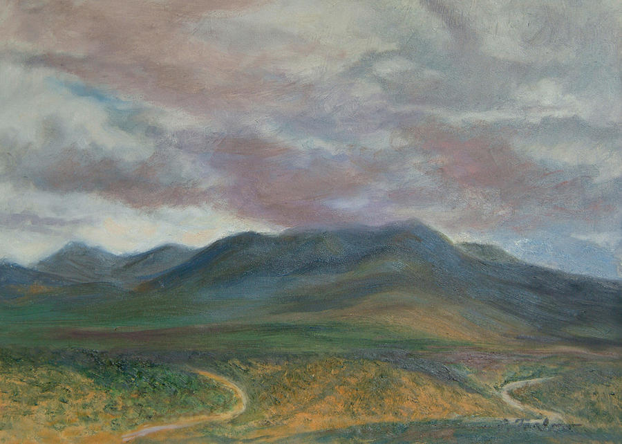 Landscape Painting - Storm Clouds Over the Ortiz Mountains by Phyllis Tarlow