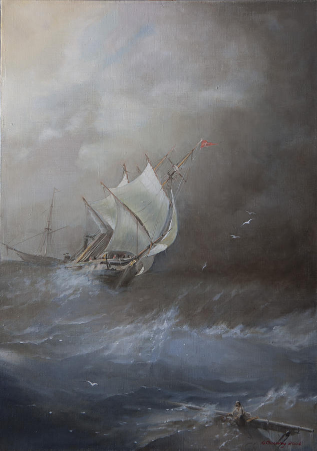 Seascape Painting - Storm On The Arctic Ocean by Oleg Gorovoy