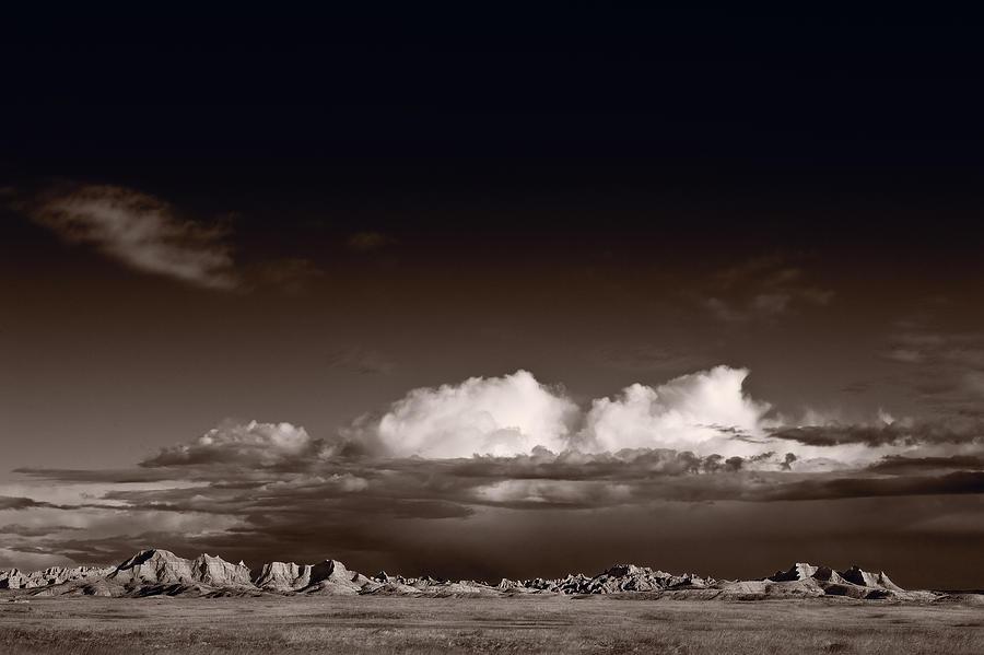 Badlands Photograph - Storm Over Badlands by Steve Gadomski