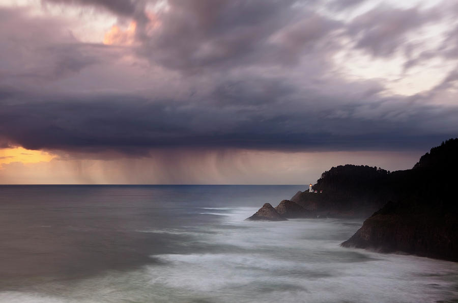 Light House Photograph - Storm Over Heceta Head  by Keith Kapple