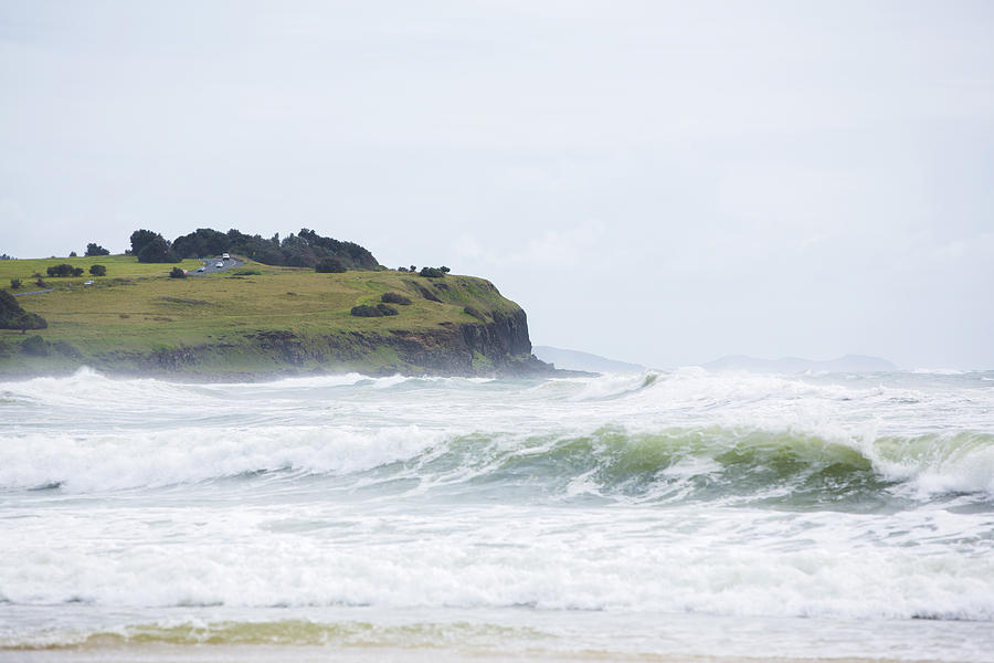 Horizontal Photograph - Storm Swell Waves On A Beach by David Freund