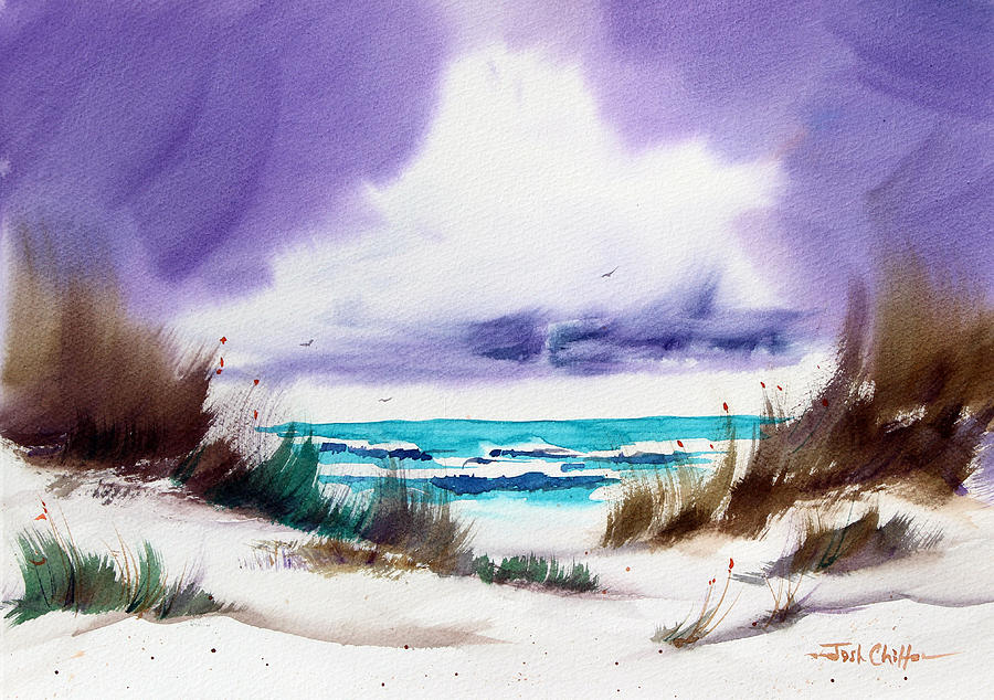 Beach Landscape Painting - Storms Coming. by Josh Chilton