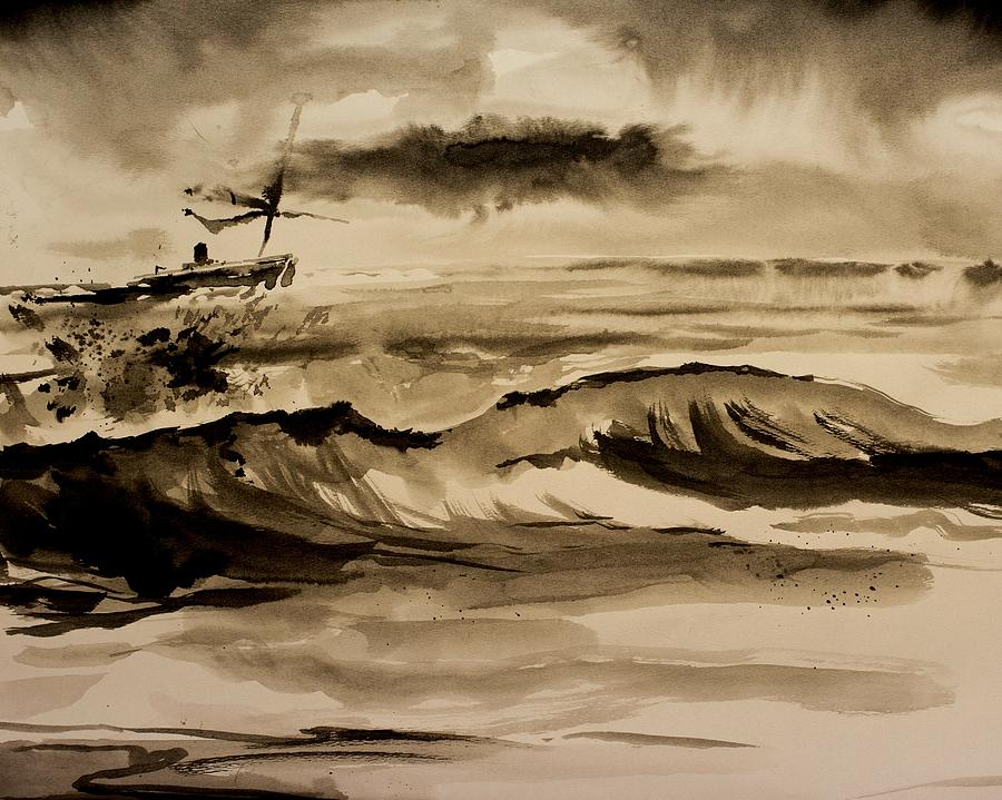 Ink Painting - Stormy Arrival by Scott Nelson