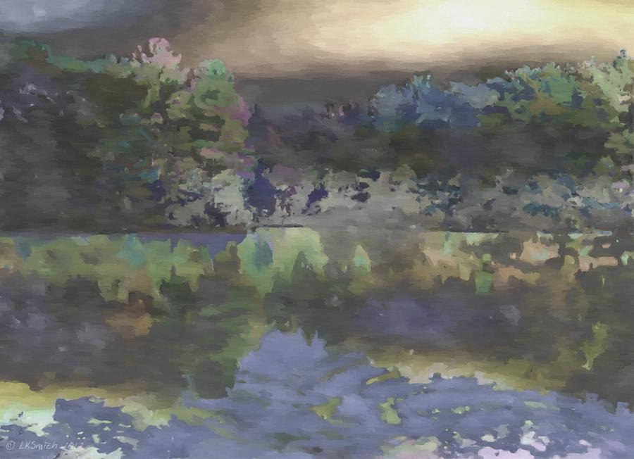 Lake Painting - Stormy Lake by Lynda K Cole-Smith