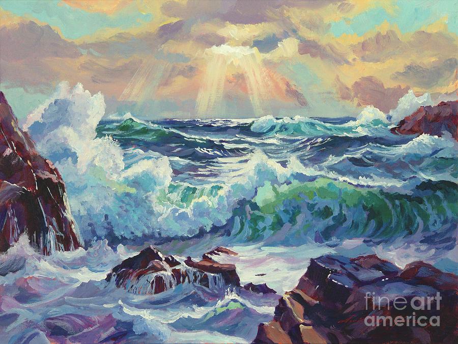 Stormy Sea Rockaway Beach Painting by David Lloyd Glover