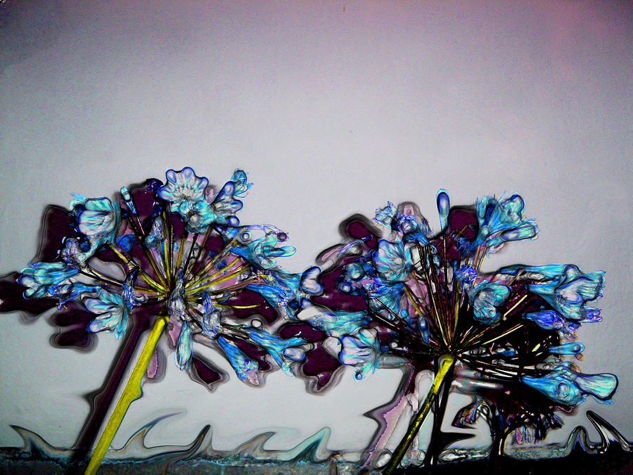 Stained Glass Digital Art - Strange Flowers by Baato